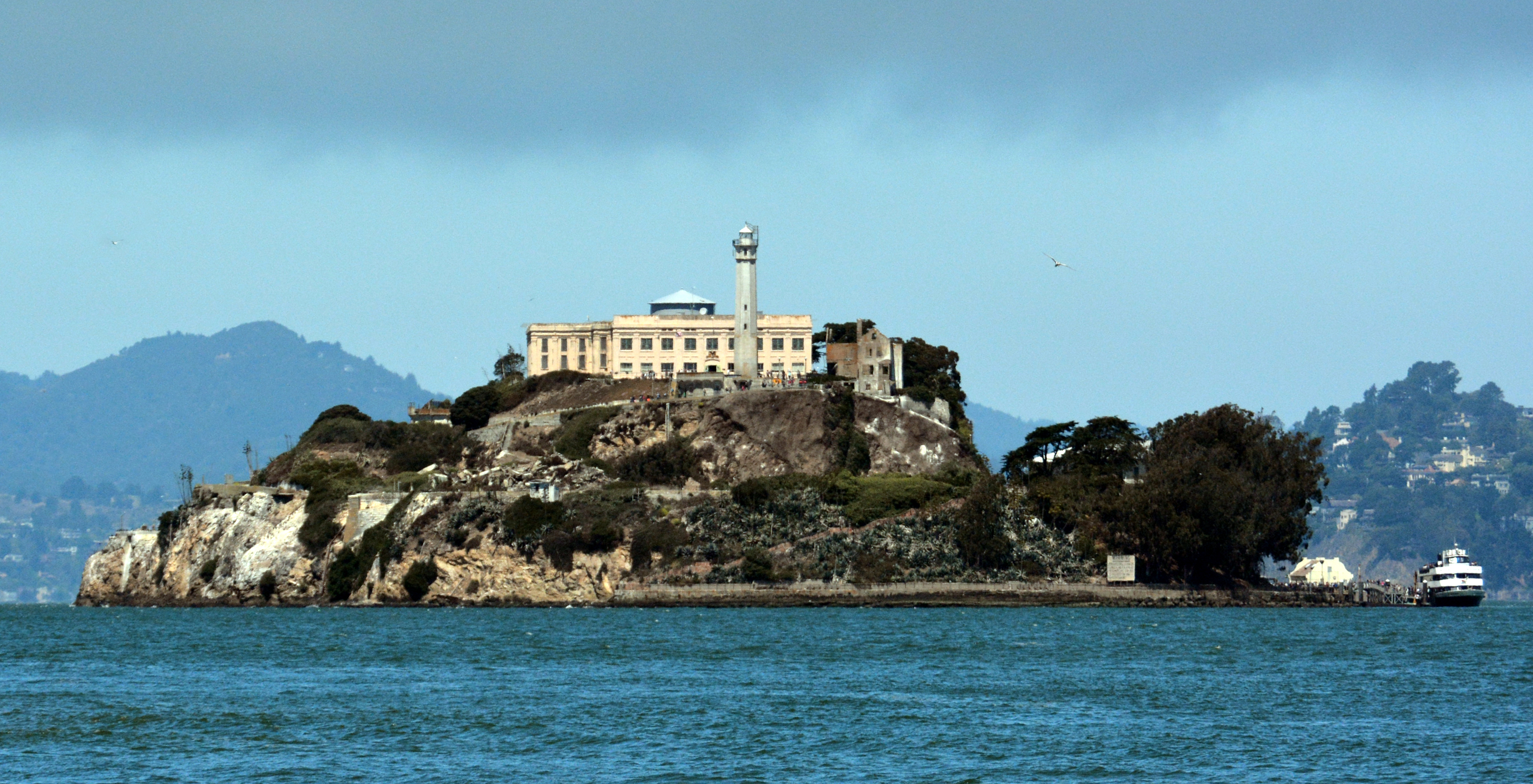 Alcatraz Island and ferry
