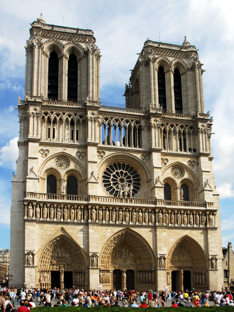 Entrance of the Notre Dame Cathedral in Paris