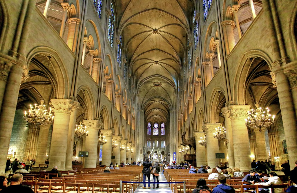 Inside the Notre Dame cathedral in Paris
