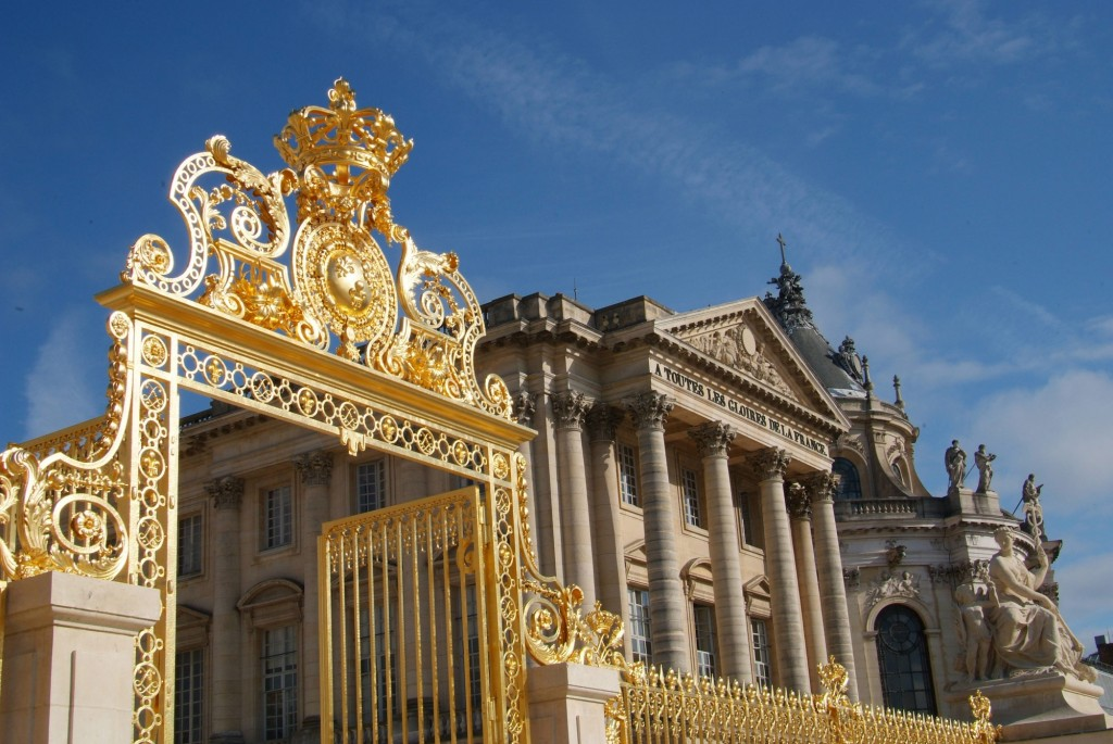 Golden gate entrance palace Versailles